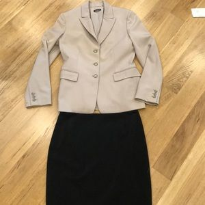 Tahari beige suit jacket & black skirt size 6.